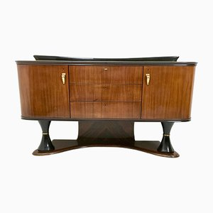 Italian Cabinet in Palisander and Turned Ebonized Wood, 1950s