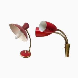 Vintage Red Wall and Table Lamps from AJH, Set of 2