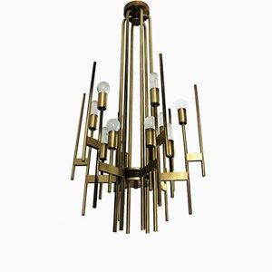Lámpara de araña vintage de latón de Gaetano Sciolari, años 70