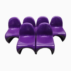 Purple Panton Chairs by Verner Panton for Herman Miller, 1976, Set of 6