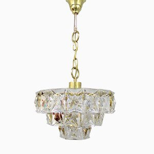 Lámpara colgante vintage de cristal facetado de Kinkeldey