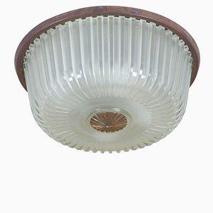 Lámpara de techo italiana vintage de vidrio moldeado, años 50