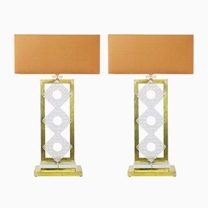 Lámparas de mesa italianas vintage de latón y vidrio. Juego de 2