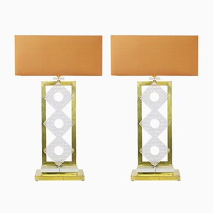 Vintage Italian Brass and Glass Table Lamps, Set of 2