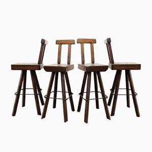Tabourets de Bar en Bois Massif, Set de 4