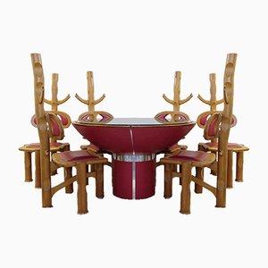 Mesa de comedor brasileña vintage con seis sillas