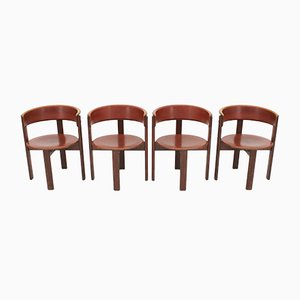 Vintage Italian Leather & Walnut Dining Room Chairs by Cassina, 1970s, Set of 4
