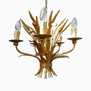 Mid-Century Sheaf of Wheat Chandelier