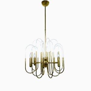 Lámpara de araña Mid-Century de latón de Gaetano Sciolari para Sciolari Lighting, años 60