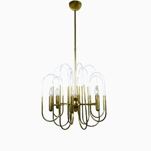 Mid-Century Brass Chandelier by Gaetano Sciolari for Sciolari Lighting, 1960s