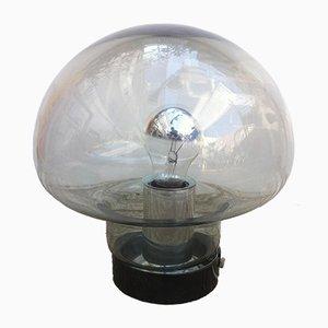Lámpara de mesa hongo era espacial de cristal ahumado de Peill & Putzler, años 60