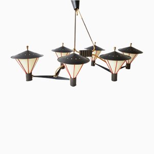 Large Ceiling Light with Six Lanterns from Arlus, 1950s