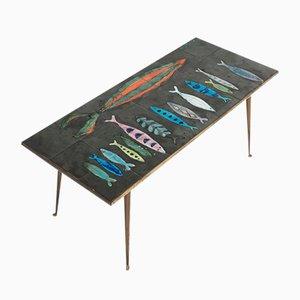 Table Basse en Céramique avec Décorations Poisson