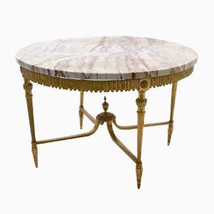 Tavolino da caffè in marmo e ottone, Italia, anni '50