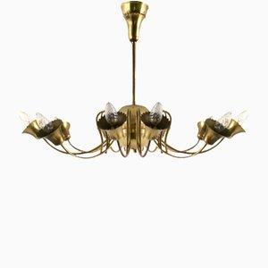 Lámpara de techo italiana vintage de latón, años 50