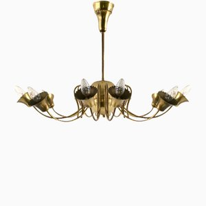 Vintage Italian Brass Ceiling Light, 1950s