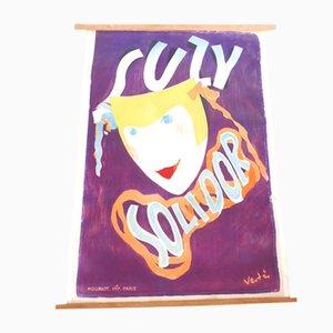Litografía de Suzy Solidor francesa vintage de Vertes para Atelier Mourlot, años 30