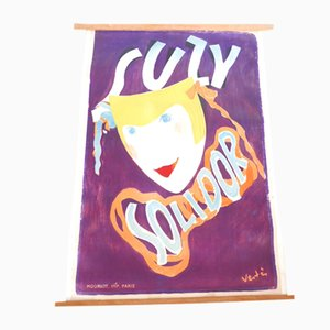 Vintage French Lithography of Suzy Solidor by Vertes for Atelier Mourlot, 1930s