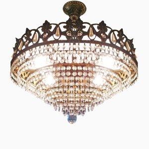 Lámpara de araña austriaca vintage con cristales de Swarovski, años 80