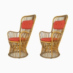 Italienische Armlehnstühle mit Hoher Rückenlehne, 1950er, 2er Set