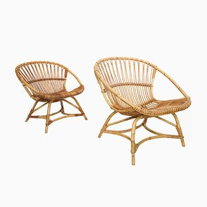 Mid-Century Dutch Rattan Lounge Chairs by Dirk van Sliedregt for Gebroeders Jonker, 1949, Set of 2