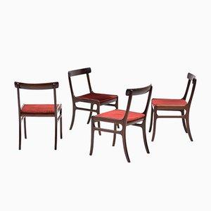 Vintage Mahagoni Rungstedlund Stühle von Ole Wanscher für Poul Jeppesen, 4er Set