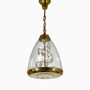 Mid-Century Italian Glass and Brass Pendant