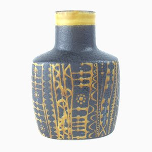 Mid-Century Baca Black and Yellow Vase by Nils Thorsson for Aluminia Royal Copenhagen