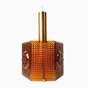 Lampe à Suspension Vintage Hexagonale en Verre Ambre par Carl Fagerlund pour Orrefors, 1960s