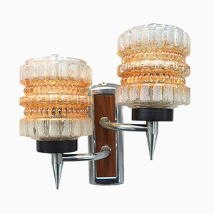 Mid-Century Glass, Chrome, and Teak Sconce, 1960s