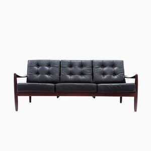 Dänisches Vintage 3-Sitzer Ledersofa
