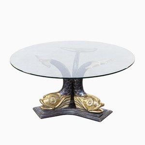 Tavolino da caffè scultoreo in ottone con base a forma di carpe koi, Italia, anni '60