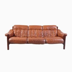 Vintage 3-Seater Leather Sofa with Teak Frame
