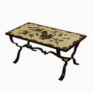Tavolino da caffè Art Deco eglomizzato in ferro battuto, anni '40