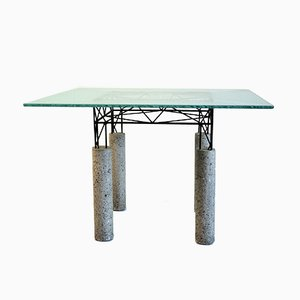 Italian Glass, Concrete, & Concrete Iron Table, 1980s