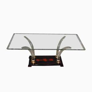 Italian Lacquered Wood and Glass Coffee Table, 1970s