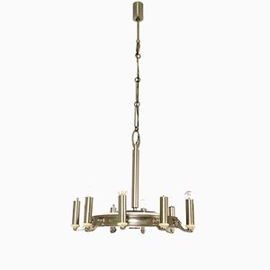 Lámpara de araña italiana de metal, años 50