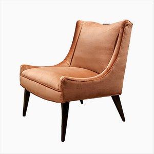 Sessel mit Rosa/ Lachsfarbenem Bezug aus Samt von Harvey Probber, 1960er