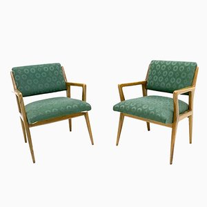 Italienische Armlehnstühle aus Massivem Nussholz, 1950er, 2er Set