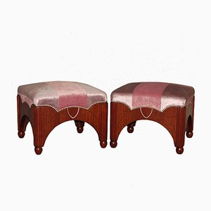 Rosa Art Deco Hocker, 1920er, 2er Set