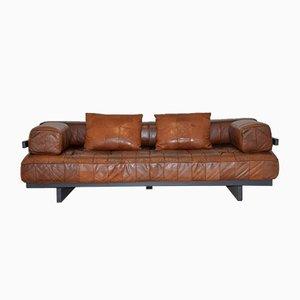 Sofá cama DS 80 suizo de cuero de de Sede, años 60