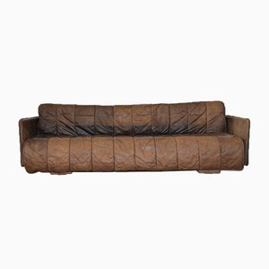 Sofá cama suizo vintage de cuero de de Sede, años 70