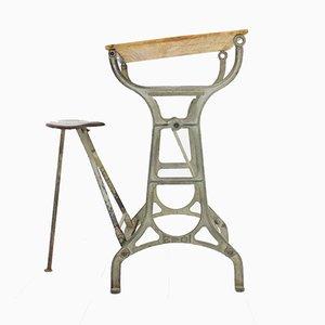 Industrieller Werktisch mit Klapphocker, 1930er