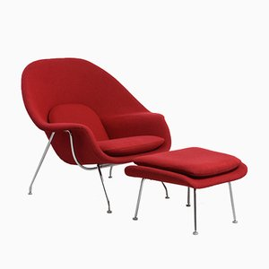 Vintage Womb Chair with Ottoman by Eero Saarinen for Knoll