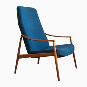 Mid-Century High Back Cherry Easy Chair by Hartmut Lohmeyer for Wilkhahn