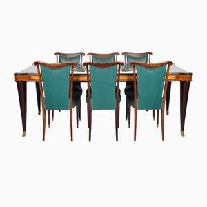 Mesa de comedor italiana vintage de vidrio y 6 sillas de Paolo Buffa, años 50