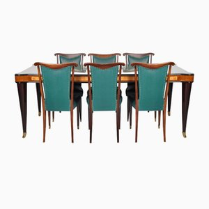 Vintage Italian Glass Dining Table & 6 Dining Chairs by Paolo Buffa, 1950s