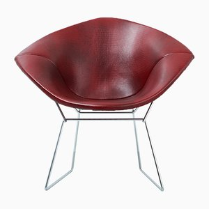 Sedia Diamond in ecopelle di Harry Bertoia per Knoll, anni '70
