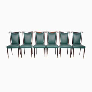 Chaises de Salon en Cuir Vert par Paolo Buffa, Italie, Set de 6