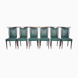 Italienische Esszimmerstühle mit Grünen Lederbezügen von Paolo Buffa, 6er Set